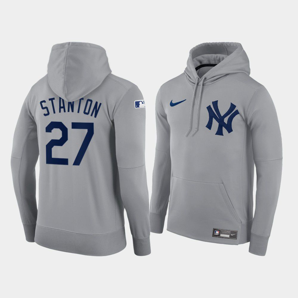 Cheap Men New York Yankees 27 Stanton gray hoodie 2021 MLB Nike Jerseys
